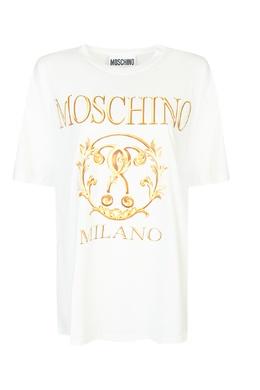 Белая хлопковая футболка с принтом Moschino 2249173737