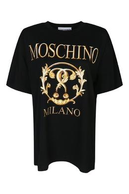 Черная хлопковая футболка с принтом Moschino 2249173739