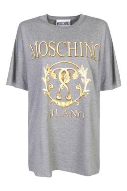Серая хлопковая футболка с принтом Moschino 2249173738