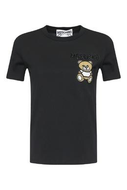Черная футболка с аппликацией Moschino 2249173890