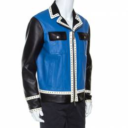 Dsquared2 Blue Leather Contrast Detail Studded Zip Front Jacket L 253550