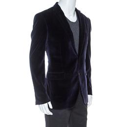 Etro Navy Blue Velvet Blazer XL 253560