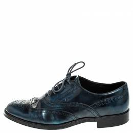 Tod's Two Tone Blue/Black Leather Lace Up Brogue Oxfords Size 41 Tod's