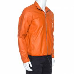 Emporio Armani Orange Leather Zip Front Jacket L