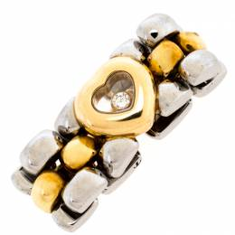 Chopard Happy Diamond Heart 18K Yellow Gold Stainless Steel Link Ring