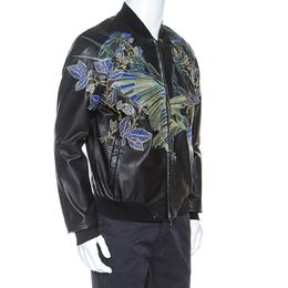 Emporio Armani Black Embroidered Lamb Leather Bomber Jacket XL