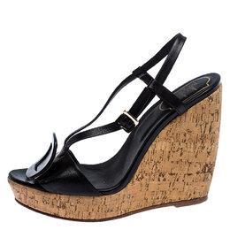 Roger Vivier Black Leather Cork Wedge Platform Sandals Size 38