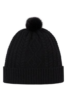 Вязаная черная шапка с меховым помпоном Max & Moi 2919174607
