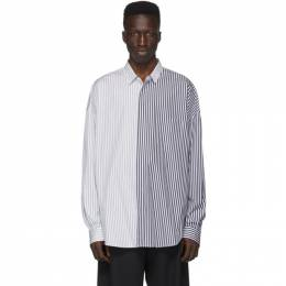 Juun.J Navy and White Colorblocked Stripe Shirt JC0264P42R