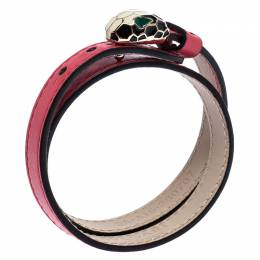 Bvlgari Serpenti Forever Enamel Pink Double Coiled Leather Gold Plated Bracelet