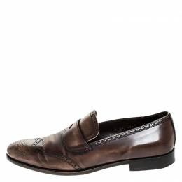 Prada Brown Brogue Leather Penny Slip On Loafers Size 41