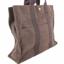 Hermes Gray Canvas Herline MM Tote Bag