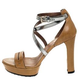 Tod's Tan/Metallic Grey Leather Ankle Strap Platform Sandals Size 38 Tod's