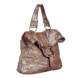 Bvlgari Brown Metallic Leather Leoni Bag