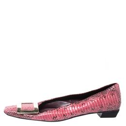 Roger Vivier Pink Python Leather Buckle Detail Ballet Flats Size 37.5
