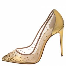 Christian Louboutin Gold Crystal Embellished Leather and Mesh Follies Strass Pumps Size 38.5