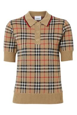 Бежевое поло из ткани Vintage Check Burberry 10169364
