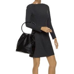 Gucci Black Leather Hoop Handle Bucket Bag
