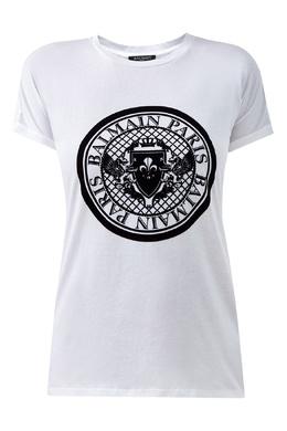 Футболка белого цвета с круглым логотипом Balmain 88177675