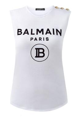 Белый топ без рукавов Balmain 88177670