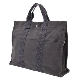 Hermes Gray Herline Canvas MM Tote Bag
