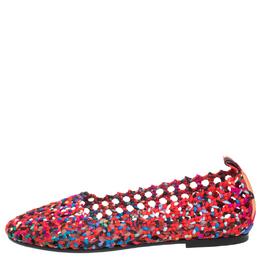 Hermes Multicolor Woven Silk Minorque Ballet Flats Size 40