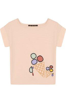 Хлопковая футболка с принтом Loro Piana FAI0955