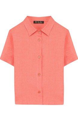 Льняная рубашки прямого кроя с короткими рукавами Loro Piana FAI1206