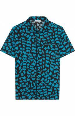 Хлопковая рубашка с принтом Dolce&Gabbana L42S54/FS581/8-14