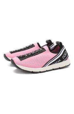Текстильные кроссовки со стразами без шнуровки Dolce&Gabbana D10723/AZ259/29-36