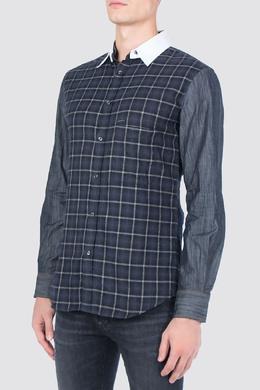 Джинсовая рубашка с клетчатой вставкой Dsquared2 1706177776