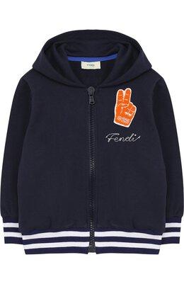 Хлопковый кардиган на молнии с капюшоном Fendi JMH064/8RA/2A-5A