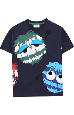 Хлопковая футболка с принтом Fendi JMI166/7AJ/10A-12A