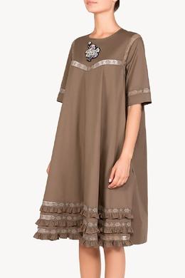 Коричневое платье с отделкой Rochas 184179020