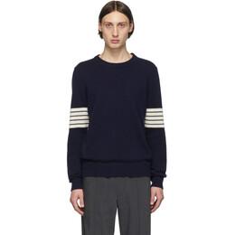 Maison Margiela Navy Rib Sleeves Sweater S50HA0943 S16965