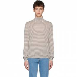 Maison Margiela White and Brown Wool Striped Turtleneck S50HA0946 S17226
