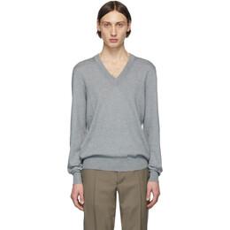 Maison Margiela Grey Elbow Patch V-Neck Sweater S50HA0882 S16764