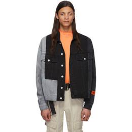 Heron Preston Black and Grey Denim Riserva Jacket HMYE005S20797006R119