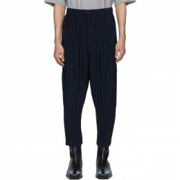 Homme Plisse Issey Miyake Navy Wide Pleats Trousers JF151