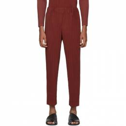Homme Plisse Issey Miyake Red Heather Pleats Cropped Trousers HP06JF132