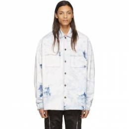 Off-White White and Blue Denim Oversized Arrows Jacket OMYD017R203860201414