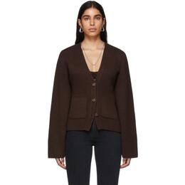Khaite SSENSE Exclusive Brown Cashmere Cardigan 8267-600.918