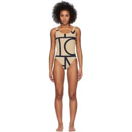 Toteme Beige Positano One-Piece Swimsuit 193-842-780