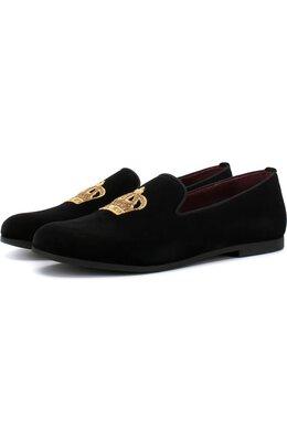 Текстильные слиперы с вышивкой Dolce&Gabbana DA0297/AE173/37-39
