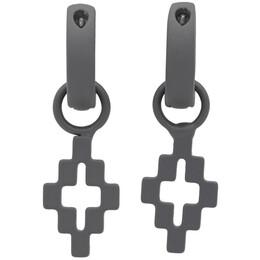Marcelo Burlon County Of Milan Gunmetal Cross Pendant Earrings CMOD001S20MET0011100