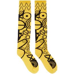 Charles Jeffrey Loverboy Yellow and Black Gender Identity Socks CJLSS20LS