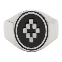 Marcelo Burlon County Of Milan Silver and Black Cross Ring CMOC001R20MET0017210