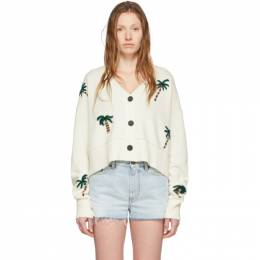 Alanui Off-White Wool Palm Forest Cardigan LWHB009R200010730188