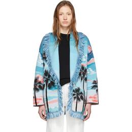 Alanui Multicolor Wool and Silk Sunset Landscape Cardigan LWHB001R200850108888