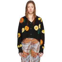 Alanui Black and Multicolor Wool Poppy Blossom Cardigan LWHB009R200010721088